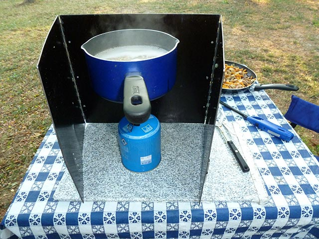 cooking light and easy at campground in Europe